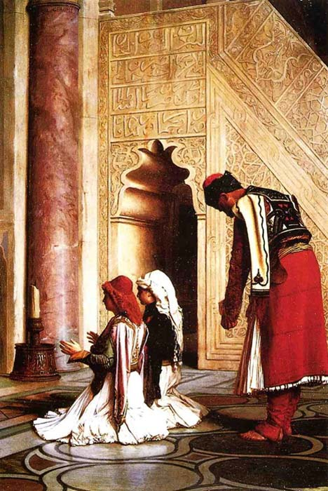 Painting portrays Greek Muslims at prayer in a mosque. Jean Léon Gérôme - 1865