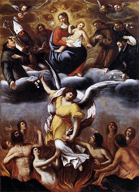 The painting 'An Angel Frees the Souls of Purgatory' 1610 AD. (Ludovico Carracci / Public domain)