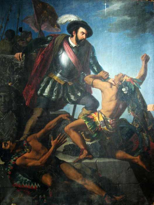 Painting of Hernán Cortés, who murdered Isabel's father and brought the downfall of the Aztec people, fathered one of her children. (Public domain)