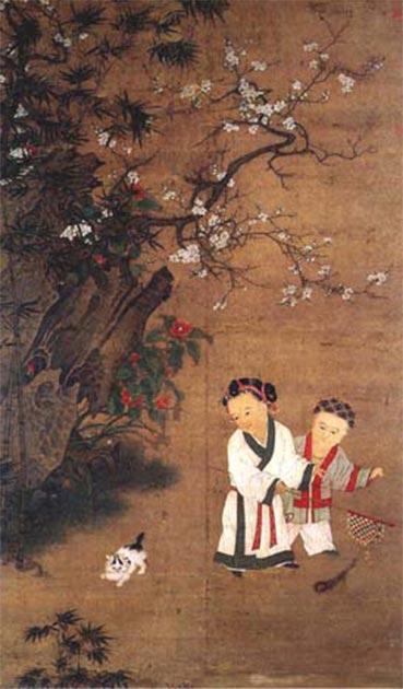 A painting by the Song Dynasty Chinese artist Su Hanchen (active 1130s–1160s) of two children waving a peacock feather banner like the one used in Song Dynasty dramatical theater. (Public Domain)