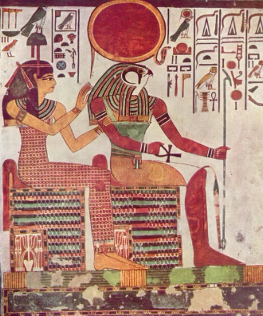 Painting of Amentet alongside the Egyptian god Ra from the burial tomb of Nefertari (wife of Ramses II  / Public domain)