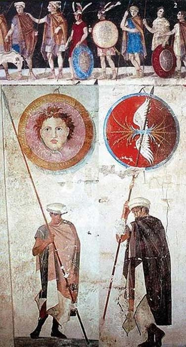 Paintings of Ancient Macedonian soldiers, arms, and armaments, from the tomb of Agios Athanasios, Thessaloniki in Greece, 4th century BC.
