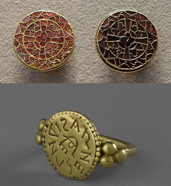 Pair of fibulae from the finery set of Queen Aregund and a ring inscribed with the name ARNEGUNDIS.