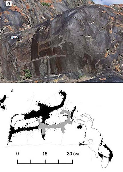 The Paleolithic rock art of two mammoths discovered at Baga-Oygur II in early 2000s. (Dmitry Cheremisin et al. / Siberian Times)
