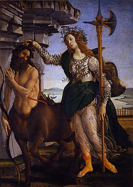 Centaurs are depicted as not to unlike ordinary human beings. 'Pallas and the Centaur' by Sandro Botticelli