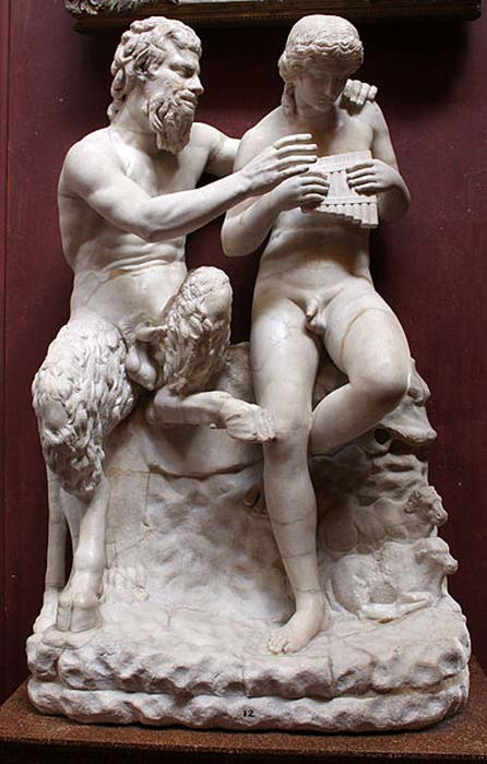 Pan teaching his eromenos, the shepherd Daphnis, to play the pipes, 2nd century AD Roman copy of Greek original c. 100 BC