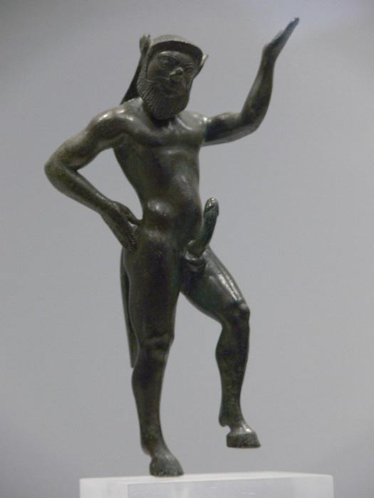 Pan was often depicted as a satyr, a goat-legged man. Statue of Satyr Silenius at Athens Archaeological Museum