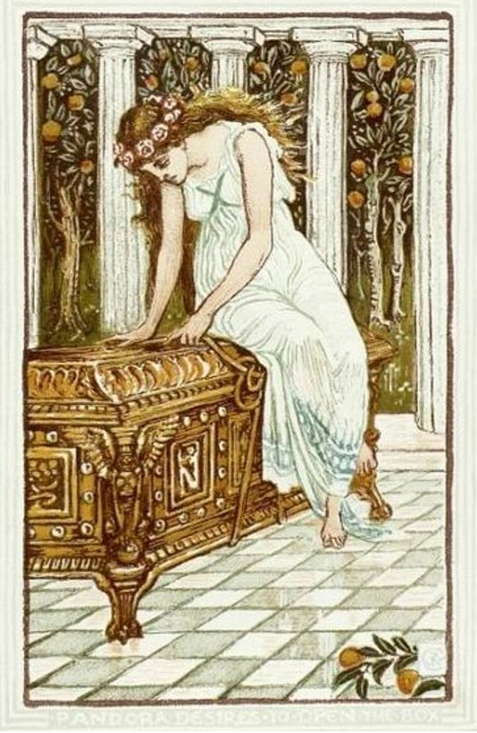 Pandora is overcome by temptation and curiosity. 'Pandora and The Forbidden Box' by Walter Crane.