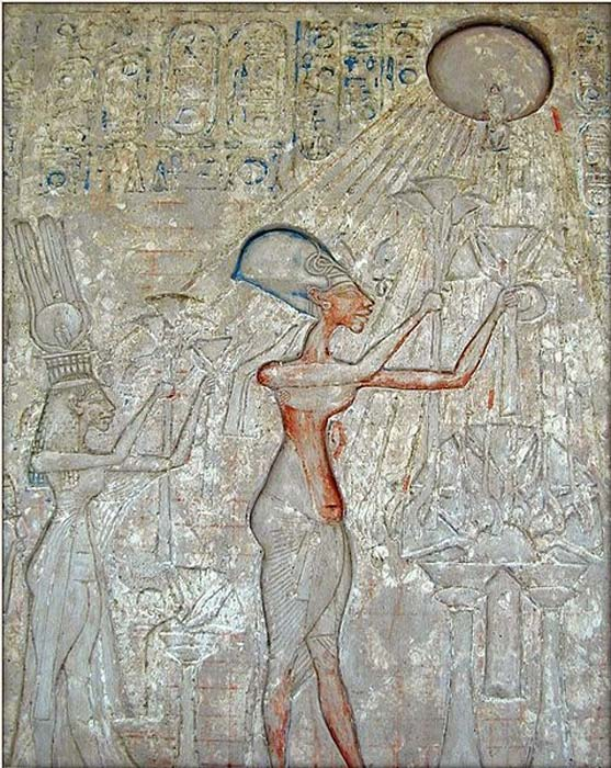 Panel with scene of Akhenaten and his family adoring the Aten (detail).