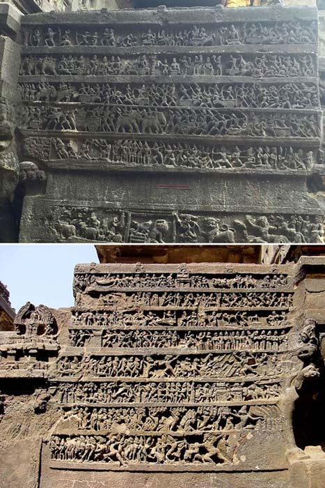 Panels depicting scenes from the Mahabharata