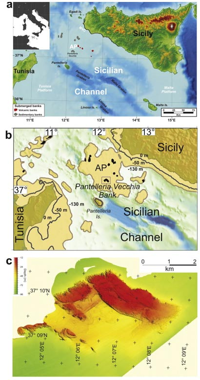 The area studied, the Pantelleria Vecchia Bank, is now undersea between Sicily and Tunisia. It had been a shallow area with an archipelago before 9,500 years ago.