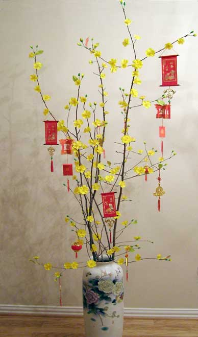 Paper hung in flowering branches for Vietnamese Lunar New Year