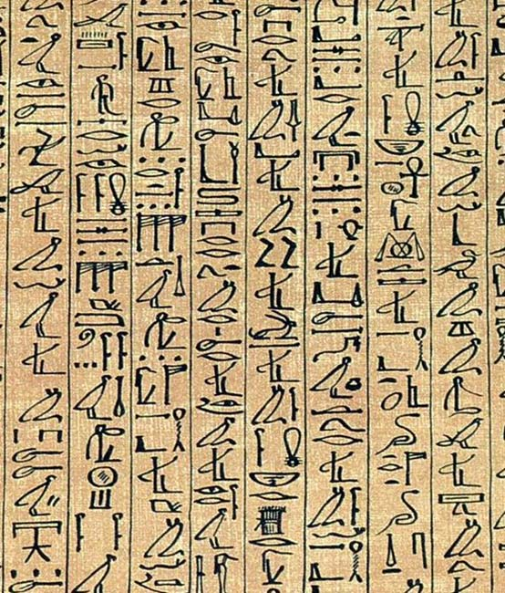 A section of the Papyrus of Ani showing cursive hieroglyphs.