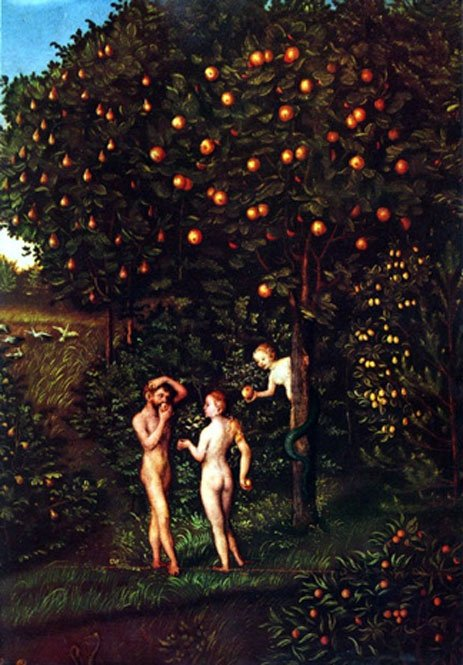 Paradise The Fall of Man / Tree of Knowledge. Lucas Cranach the Elder (1472–1553). (Public Domain).