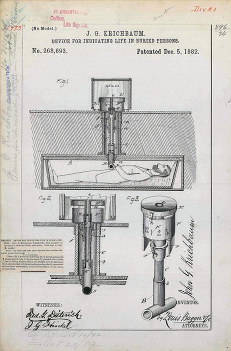 Patent drawing for Krichbaum's safety coffin using glass that was supposed to fog up if the buried person was alive. (Licorne37 / Public Domain)