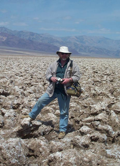 Author Paul Devereux on the Death Valley salt flat known as 'The Devil's Golf Course'.