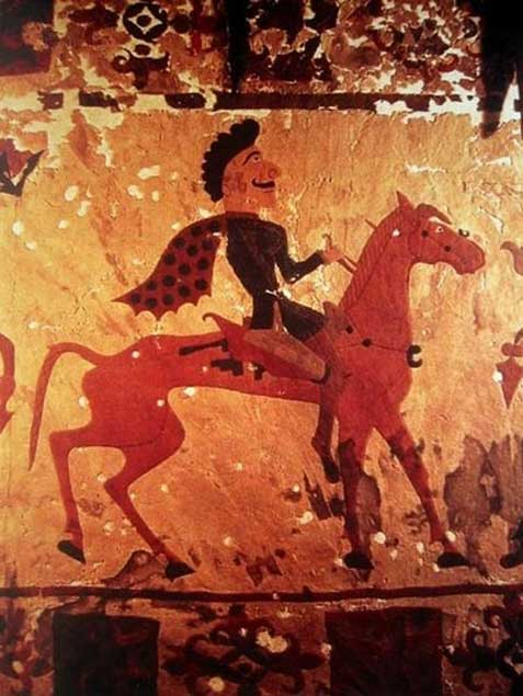Pazyryk horseman. Circa 300 BCE. Detail from a carpet in the State Hermitage Museum in St Petersburg. (public domain)