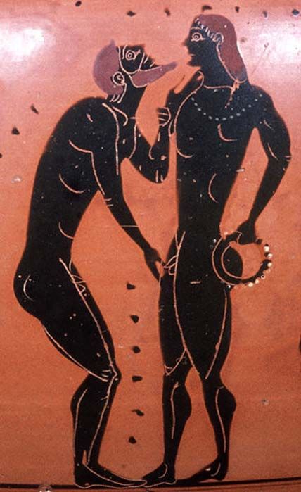 Pederastic scene: erastes (lover) touching chin and genitals of the eromenos (beloved). Side A of an Attic black-figure neck-amphora, ca. 540 BC.