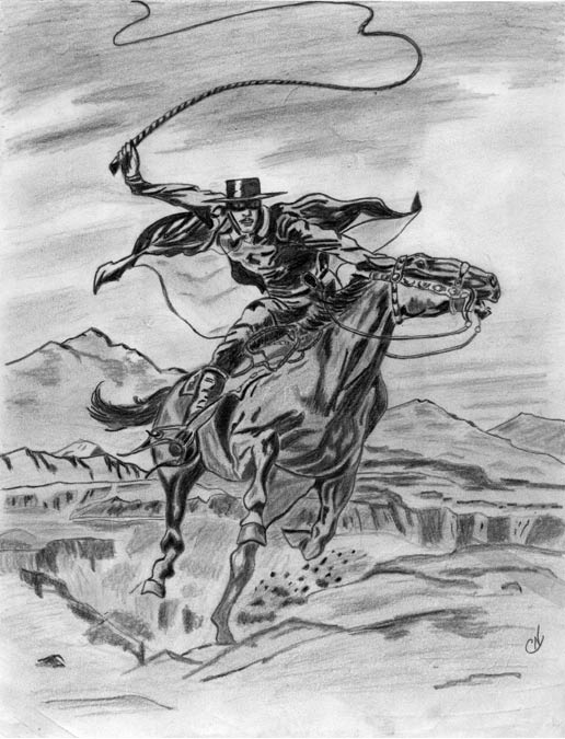 Pencil sketch of el Zorro by Charles V. Norris