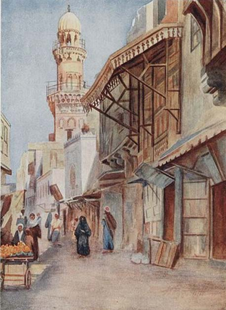 People on the street, with the Mosque of Sultan Baibars in the background, Cairo, Egypt.