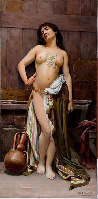 """There were advantages to leaving slaves unharmed. Here a slave girl is advertised for sale as a """"21 year old virgin"""" (Oscar Pereira da Silva / Public Domain)"""