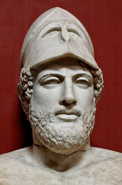 The temple was built under Pericles's rule. Marble bust of Pericles, Roman copy after a Greek original from ca. 430 BC.