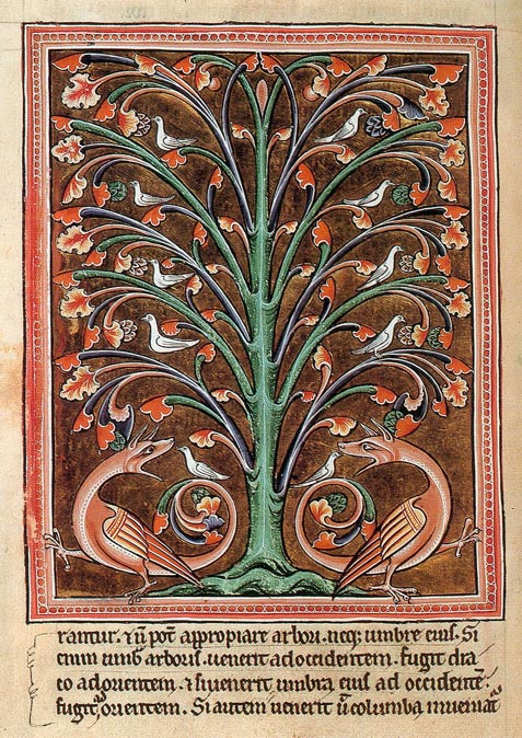 Doves hide in the Peridexion tree to avoid dangerous dragons. Oxford Bestiary, c.1220.
