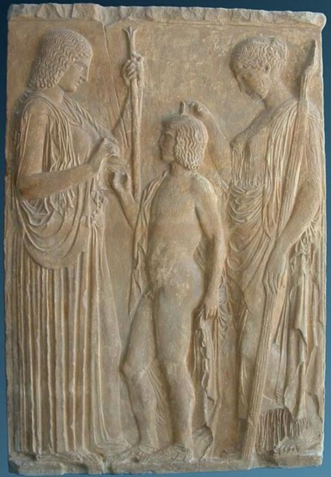 Eleusinian trio: Persephone, Triptolemos, and goddess Demeter, on a marble bas-relief from Eleusis, 440–430 BC
