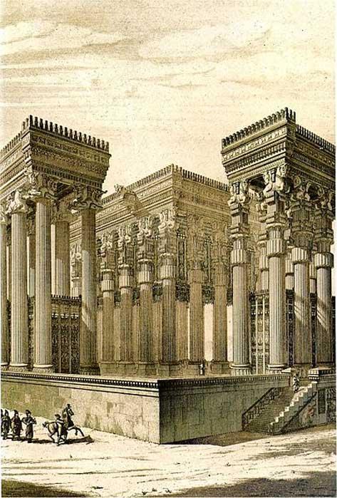 Persepolis, reconstruction of the Apadana by Chipiez.