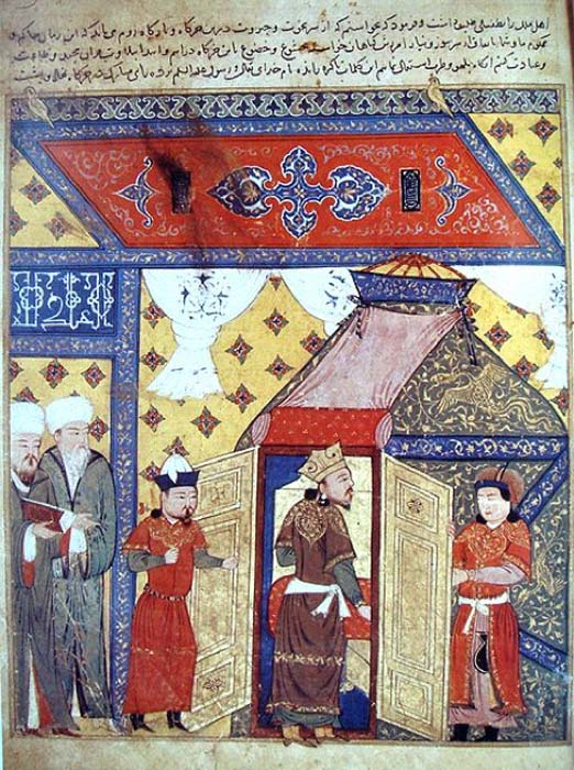 Persian miniature depicting Ilkhanate ruler Ghazan's conversion from Buddhism to Islam. (Public Domain)