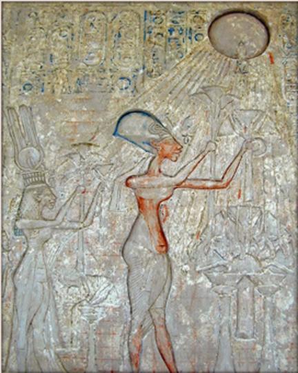 Pharaoh Akhenaten (center) and his family worshiping the god Aten. (BrightRaven / Public Domain)