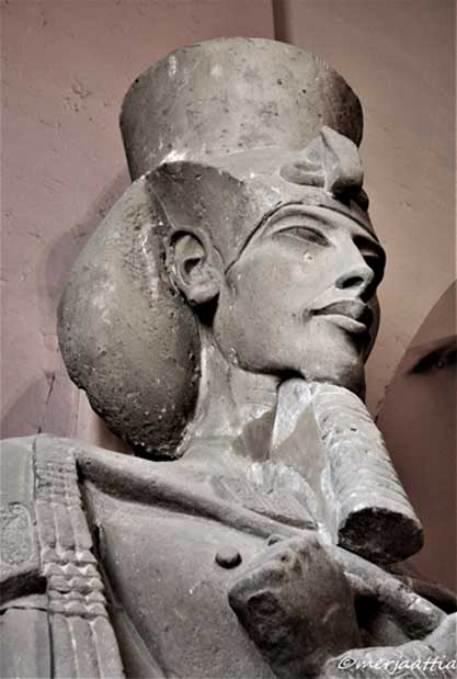 Pharaoh Akhenaten adored Nefertiti, but also took a special liking to a lesser wife, Kiya. It is not known why she was honored with a rare title 'Greatly Beloved Wife'; but scholars speculate it could be because she provided the king with a male heir in the person of Tutankhamun. This colossal sandstone sculpture of Akhenaten wearing the Khat headdress and double crown was discovered at Karnak Temple. Egyptian Museum, Cairo.