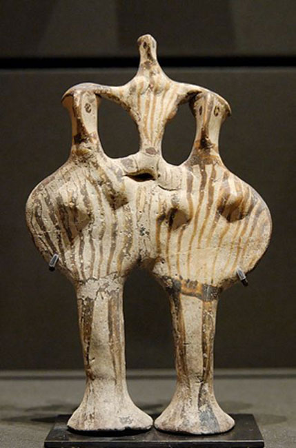"Example of ""Phi"" figurines (because they look like the Greek letter Φ) from Mycenae. (13th century BC)"