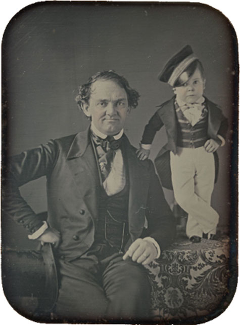 Phineas Taylor Barnum & Charles Sherwood Stratton circa 1850. (Public Domain)