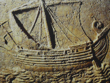 Phoenician ship carved on the face of a sarcophagus