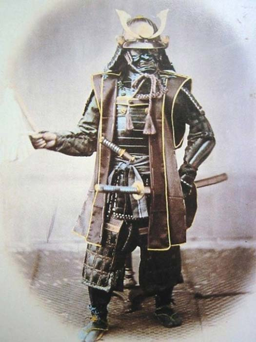 Photograph of Japanese samurai in armor, 1860s.