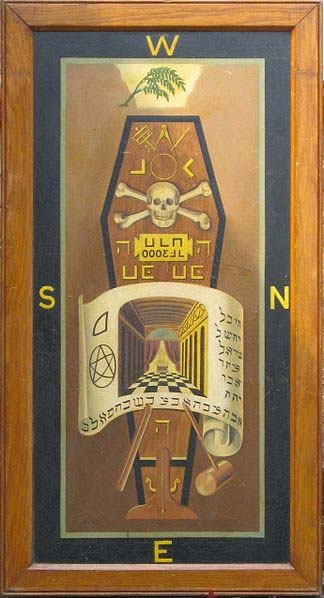 Photograph of a Third Degree tracing board dating from c.1876 showing some Masonic symbols.