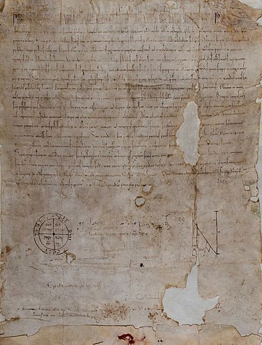 """Piae Postulatio Voluntatis"". Bull issued by Pope Paschal II in 1113 in favor of the Order of St. John Hospitaller, which was to transform what was a community of pious men into an institution within the Church. By virtue of this document, the pope officially recognized the existence of the new organization as an operative and militant part of the Roman Catholic Church, granting it papal protection and confirming its properties in Europe and Asia. (Public Domain)"