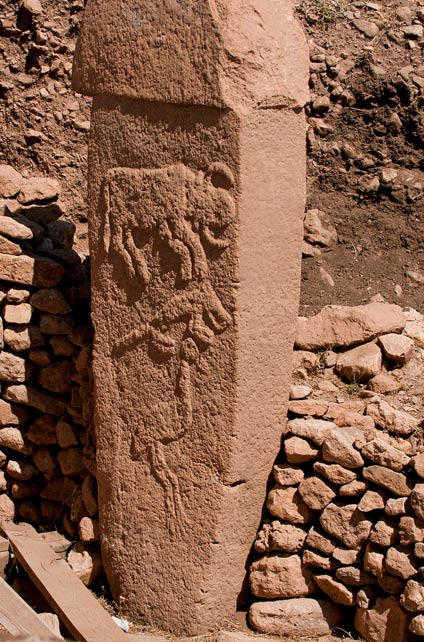 Pillar 2 at Gobekli Tepe, likely describing the path of the radiant of Taurid meteor stream circa 10,000 BC