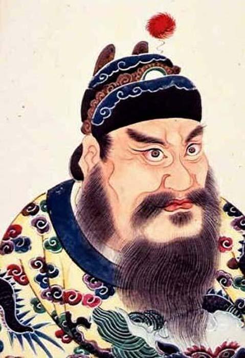 Pintura del retrato de Qin Shi Huangdi, primer emperador de la dinastía Qin, álbum de retratos de emperadores chinos en el siglo XVIII. (Dominio publico)