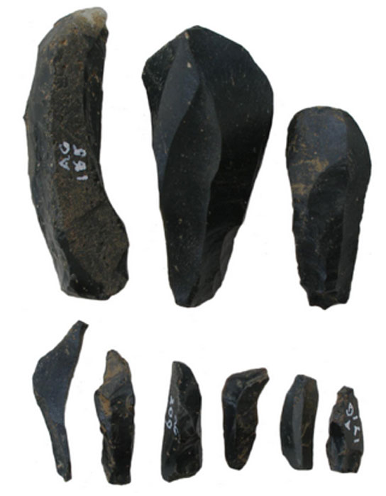Pitchstone blades and microblades from Auchategan, Argyll & Bute (Marshall 1978; Ballin 2006). (Beverley Ballin Smith)