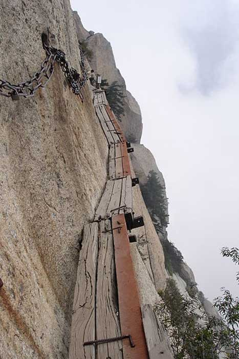 The Perilous 'Plank Road' on Huashan.
