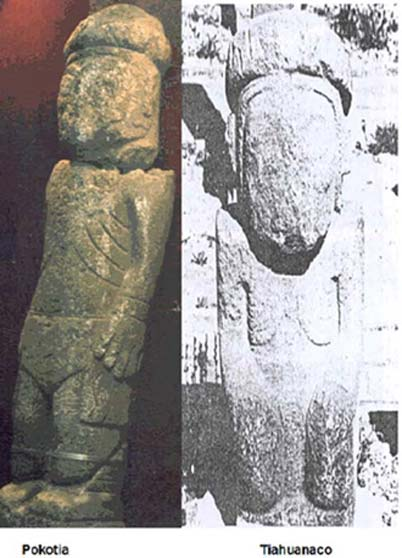Plate 2: Pokotia and Tiahuanaco monoliths. (Courtesy of Dr Clyde Winters.)