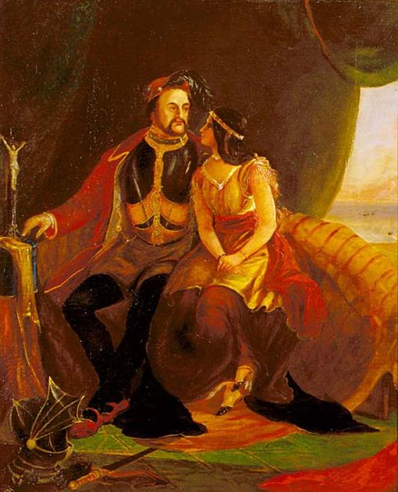 Pocahontas and John Rolfe (1850s) by J.W. Glass.