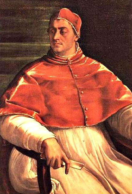 Portrait of Pope Clement, who refused to annul the marriage of Henry VIII and Catherine of Aragon, which was the final blow that led the English king to separate England from the Catholic Church and to declare himself head of the Anglican Church.