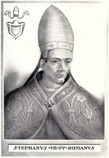 Pope Stephen VI. This illustration is from 'The Lives and Times of the Popes' by Chevalier Artaud de Montor, New York: The Catholic Publication Society of America, 1911. It was originally published in 1842. Before Pope-elect Stephen was removed from most lists of popes, Stephen VI was referred to as Stephen VII