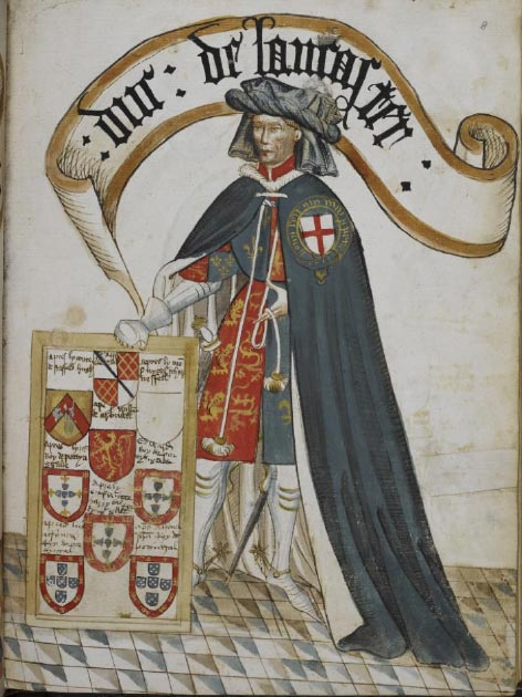 Portrait of Henry, Duke of Lancaster, a Knight Founder of the Order of the Garter, wearing a blue Garter mantle over plate armour and surcoat with his arms. A framed tablet displays painted arms of successors in his Garter stall at St. George's Chapel, Windsor. (British Library)