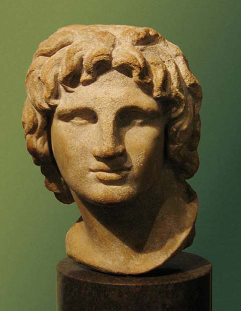 Portrait of Alexander the Great. Marble, Hellenistic artwork, 2nd-1st century BC. Said to be from Alexandria, Egypt. (CC BY-SA 2.0)
