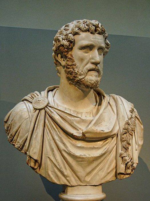 Portrait of Emperor Antoninus Pius. Marble, probably a replica of ca. 160 AD after a prototype created ca. 140 AD.