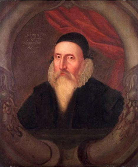 Portrait of John Dee painted during the 17th century by an unknown artist. National Maritime Museum at Greenwich.